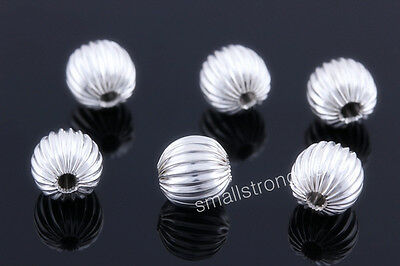 100 Pcs silver plated spacers Loose beads Bracelets Necklace Findings Charms 8mm