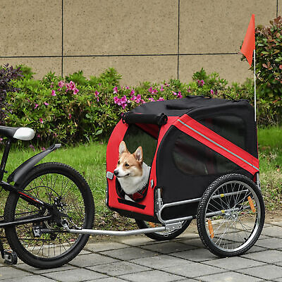 New Folding Pet Bicycle Trailer Dog Cat Bike Carrier w/ Drawbar Hitch Foldable