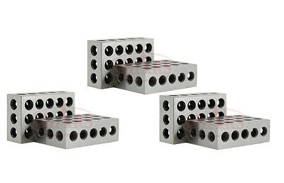 """Shars 3 Matched Pairs Ultra Precision 123 1-2-3 Blocks 23 Holes .0001"""" Machinist"""