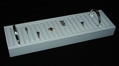 Large 19 Slot White Leatherette Bangle Display Also Great For Ring Tray