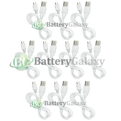 10 USB White Battery Charger Data Cable for Android Samsung Galaxy Note 1 2 3