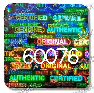 MEDIUM 15mm Security Hologram Stickers NUMBERED, Square Labels Genuine Certified