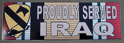 US Army 1st Cavalry Division Proudly Served Iraq Decal / Bumper Sticker