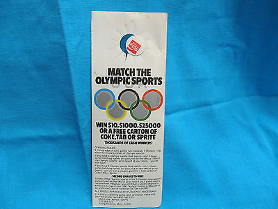 Vintage 1980 Coca Cola Coke Moscow Summer Olympics Advertising Bottle Hang Tag