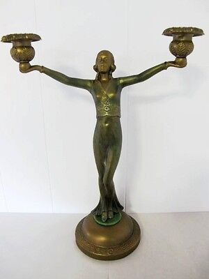 Art Deco Spelter Lady Candlelabra, Cold Painted, C1930's