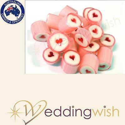 500g Rock Candy Wedding Favour/Bomboniere - Hearts, Fast Dispatch