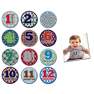 BOY Memento Monthly Stickers Baby Shower Gift Sticky Bellies Just Born-12 Months