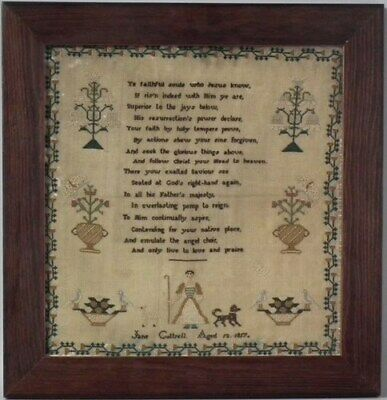 1817 Sampler with shepherdess by Jane Cottrell