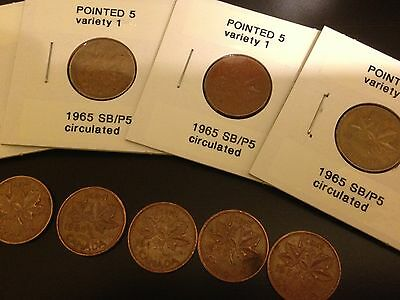 SCARCE 1965 Pointed 5 penny - Small Beads - Variety 1 - circulated