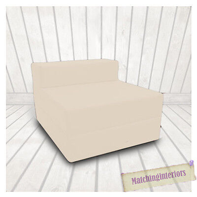 Beige Budget Block Filled Cotton Fold Out Z Bed Folding Mattress Sofa Chair Bed