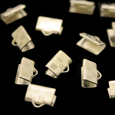 Silver Coloured Ribbon Pattern Necklace Tips For Clasp Jewellery Making Findings
