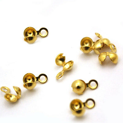 50 x Gold Plated Calottes Necklace End Tips Beads Clamshells approx 3 x 6 mm
