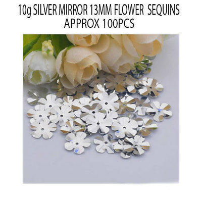 10grams Metallic Silver Mirror 13MM Loose Flower Sequins Sewing Wedding Crafts