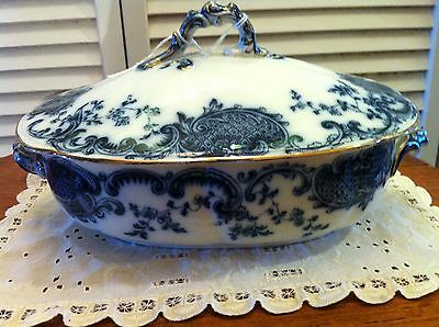 Rare Bishop & Stonier Melville Pattern 175158 Flow Blue Covered Tureen Victorian