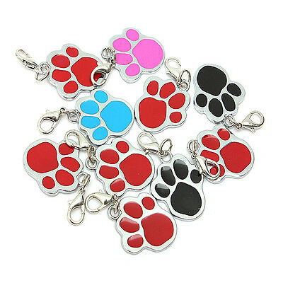 Puppy Pet Dog Cat Paw Foot Print ID Name Collar Personalized Tag Not Engraved