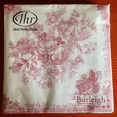 Pink Shabby Chic Toile 20 Paper Napkins Serviettes Asiatic Pheasants Burleigh