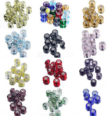 European Murano Glass Faceted Big Hole Loose Spacer Beads DIY Bracelete Craft