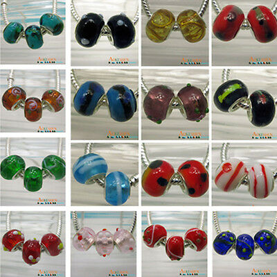 Promotion! Charms Lampwork Murano Glass Spacer Beads For European Bracelet DIY