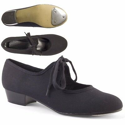 Black Low Heel Canvas Tap Shoes with Toe Taps Girls Ladies by Dance Gear LHCB