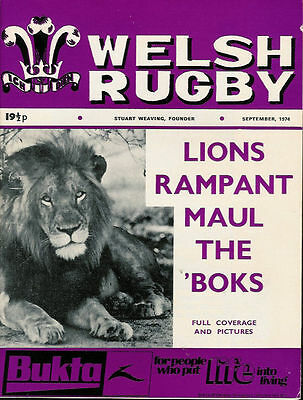 WELSH RUGBY MAGAZINE SEP 1974 TONGA IN WALES, LIONS TOUR, WILLIE JOHN McBRIDE