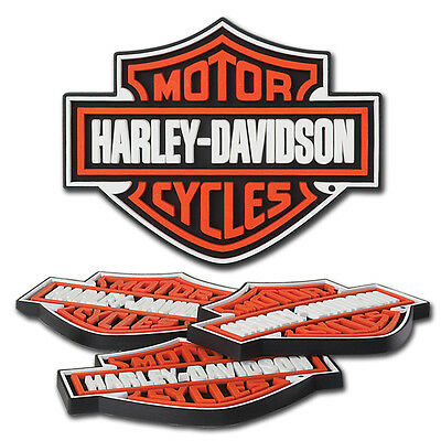 "Harley Davidson Bar & Shield Set Of 4 Rubber Custom Coasters  5""w X 4""h"