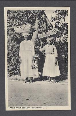 BARBADOS ~ NATIVE WOMEN FRUIT SELLERS WITH THEIR MERCHANDISE ~ c 1910's