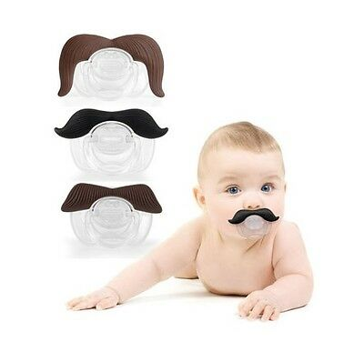 Funny Moustache Dummy Dummies Pacifier Novelty Baby Child Soother Lips Joke UK