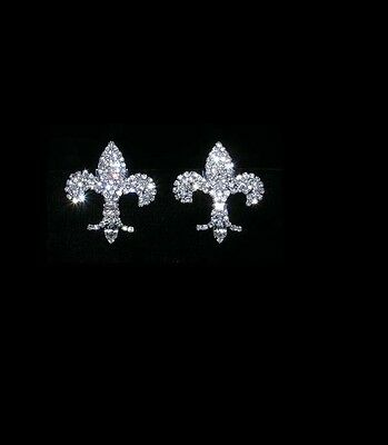 Gorgeous Fleur De Lis Rhinestone Shoe Clips Charms--1 Pair-Bridal Party
