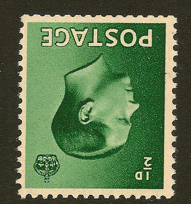 GB EDWARD VIII : 1/2d green  inverted watermark SG 457wi unmounted mint