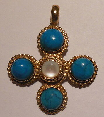 Rare ancient cross gold plated metal set with colored glass paste  N°1