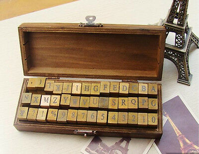 42pc Vintage Antique Style Wooden / Rubber Stamp Set  w/ Alphabet & Numbers