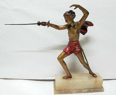 ART DECO COLD PAINTED FIGURE OF LADY FENCING,C1920'S SPELTER known as peter pan.
