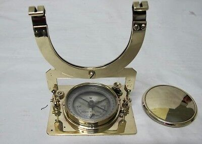 Brass Mining Compass, Hangs From String For Gimballing Affect C1920's