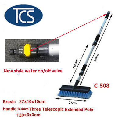 TCS NEW 3.4M Extendable Brush Car Truck Van Window Wash Cleaning ON/OFF Valve