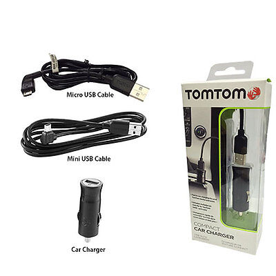 Genuine TomTom Car Charger and USB Cable for Tomtom Start XL XXL Classic Series