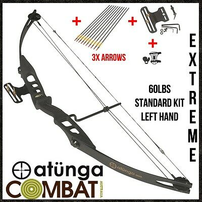 New Extreme Left Hand Black 60Lb Compound Bow & Arrow Archery Hunting Target