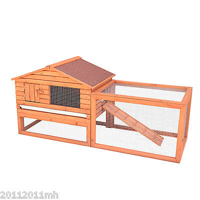 Wooden Rabbit Hutch Chicken Coop Bunny Cage Small Animal Supply