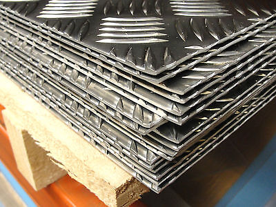 Ali Chequer Plate 5 bar Treadplate Aluminium Sheet - 2.0 & 3.0 25 Pre Cut Sizes