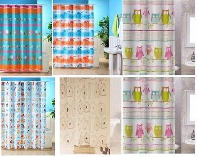 Shower Curtain Patterned Fabric Polyester Bathroom Bath 180 x 180 CM With Hooks