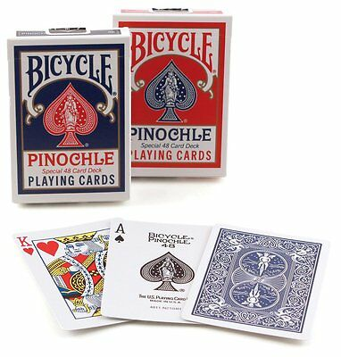2 Decks Bicycle Rider Back Standard Pinochle Playing Cards Red & Blue New Box