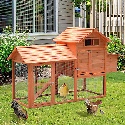 PawHut Deluxe Wood Chicken Coop Nesting Box Backyard Poultry Hen House w/Run
