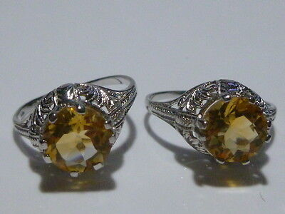 Vintage Inspired Sterling Silver Filigree Yellow Citrine Cz Womens Ring Band