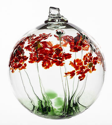 """KITRAS Hand Blown  Art Glass GREETINGS BLOSSOM WITCH BALL-5.5"""" NEW - Canadian"""