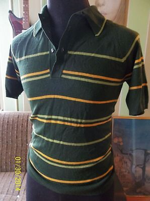 TRUE VINTAGE 80s Green Striped Sweater Shirt Mens Short Sleeve Small S