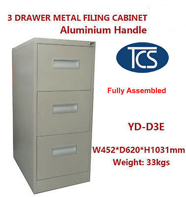 TCS NEW Fully Assembled 3 Drawer Metal Storage Filing Cabinet SCHOOL GYM OFFICE