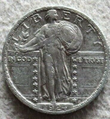 1924 Silver Standing Liberty Quarter - About Uncirculated Conditon