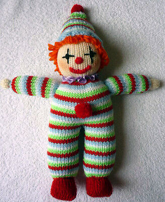 CLOWN with POMPONS - 8ply easy - knitting pattern toy / doll  # 21