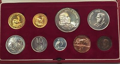 1968 South Africa 9 Coin Specimen Set Box With Silver & Gold