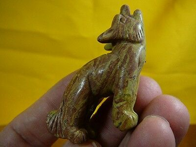 (Y-COY-ST-706) Brown howling COYOTE JASPER wild dog gemstone carving FIGURINE