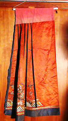 Antique Qing Chinese Silk Embroidery Segment Wedding Skirt With A Birds/dragon
